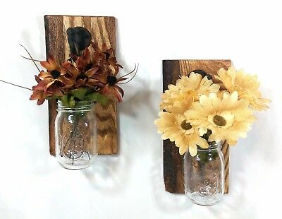 (2) Rustic Reclaimed Wood Wall Sconces w/ Mason Jar Candle/Flower Holders