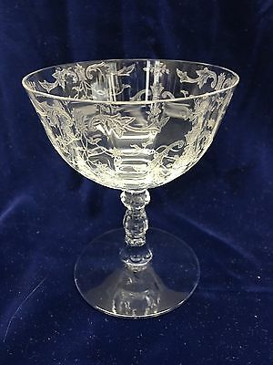 Fostoria Navarre etch low sherbet champagne martini glasses Pair