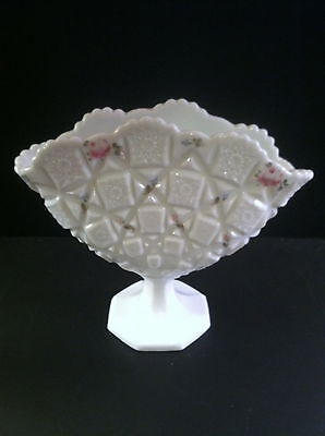 Westmoreland Glass Old Quilt Milk Glass Footed Fan Vase Hand Painted Roses