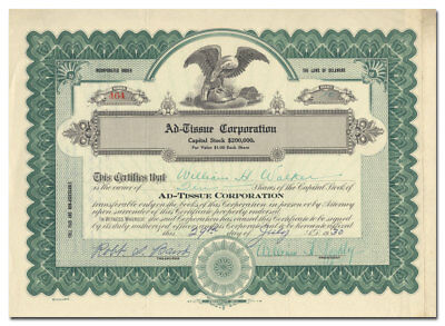 Ad-Tissue Corporation Stock Certificate (1930 Toilet Paper Advertising Concern)