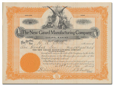 New Girard Manufacturing Company Stock Certificate (Kansas, Run by Socialists!)