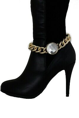 Women Western Ethnic Boot Anklet Chain Metal Shoe Brown Fabric Fringes Blue Bead