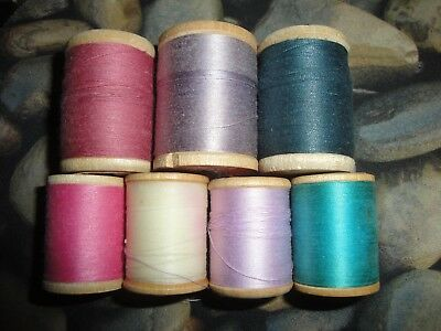 (2485) 7 Vintage thread on wooden spools ~ various makers
