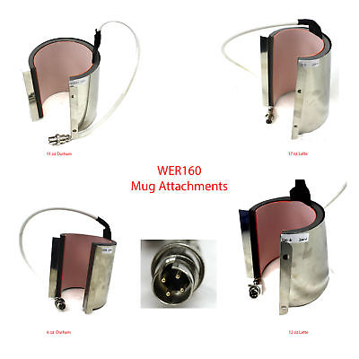 WER160 MUG ATTACHMENTS 6 11 12 17oz LATTE DURHAM Heat Press 2 Screw Sublimation