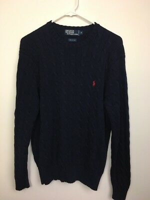 POLO RALPH LAUREN Mens Cable Knit Sweater Navy Blue M Cotton Crewneck Red Logo
