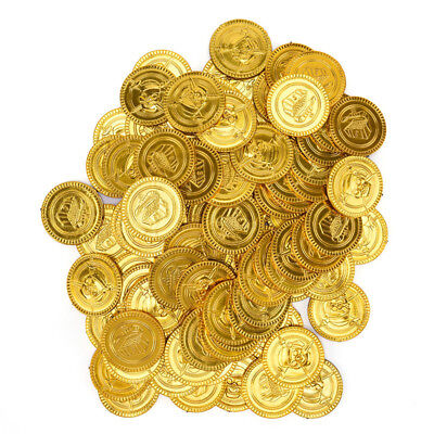 100X Plastic Gold Coins Pirate Pirates Treasure Chest Coin Loot Party Favors Pop