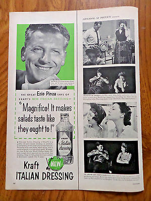 1956 Kraft Italian Dressing Ad  Movie Hollywood Star Ezio Pinza
