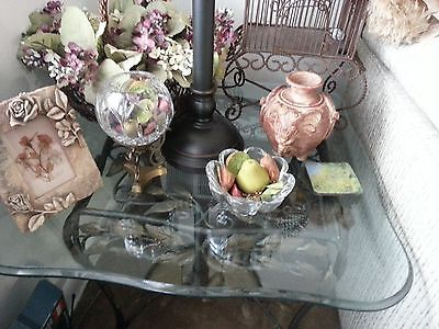 Heavy GlassTop /Wrought Iron Base End Table