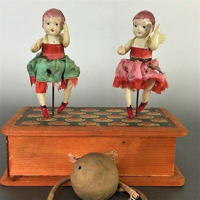 Antique Vintage 1910-30s Japanese Celluloid Angel Girl Doll Pump Wooden Toy Rare