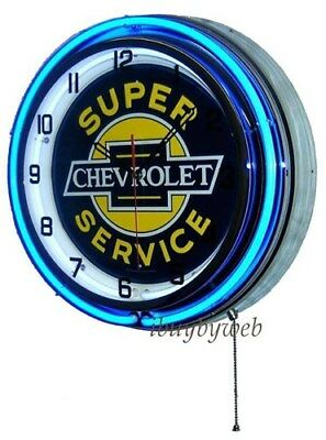 """18"""" Blue Chevy Chevrolet Double Neon Super Service Wall Clock Advertisement Sign"""