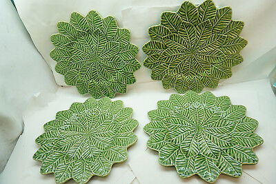 BORDALLO PINHEIRO GREEN LEAF SERVICE PLATES SET 4 LARGE 13in DIAMETER CHARGER d