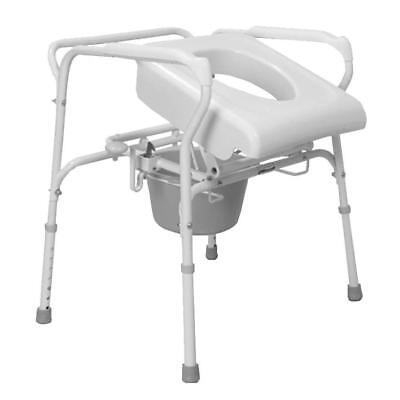 Elevated Toilet Seat White Self-Powered Height Adjustable Legs Rubber Feet
