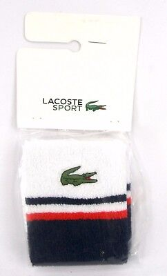 NEW - Lacoste Men's Sport Stripe Wristband, White/Navy Blue/Etna Red, One Size