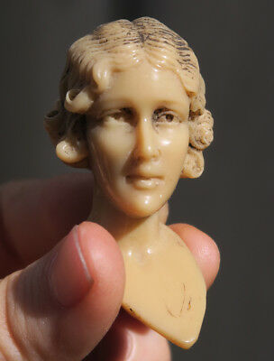 Antique French DECO LADY head Figurine lamp PART faux bone ivorine face doll