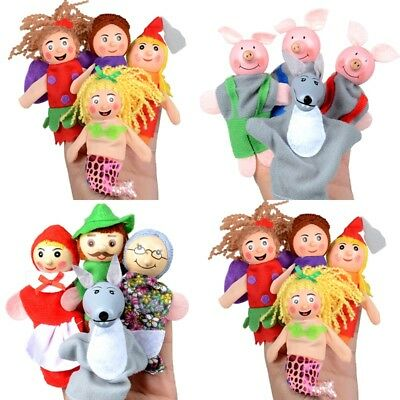 4Pcs Family Finger Puppets Plush Doll Baby Educational Hand Toys Fairy Tales
