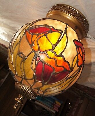 VTG ART DECO ERA FLUSH MOUNT GLASS SHADE CHANDELIER CEILING FIXTURE 1960's