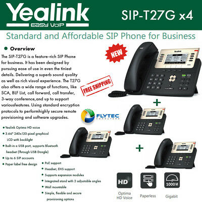 Yealink SIP-T27G 4-Pack, IP Phone, Gigabit Ethernet, PoE, Up to 6 SIP accounts