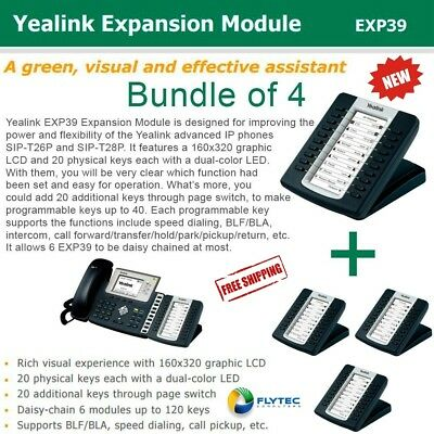 Yealink Bundle of 4 EXP39 LCD Expansion Mod, Comp. to SIP-T29G/T28P/T27P/T26P