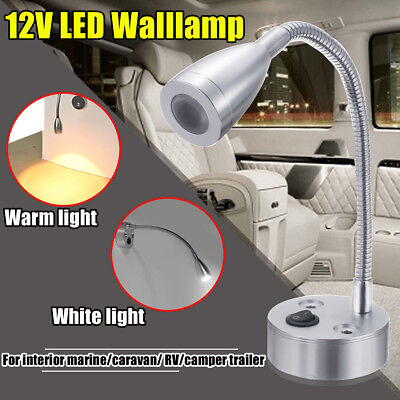 12V Flexible LED Marine Bedlamp Boat Reading Wall Lamp Camper Warm/White Light