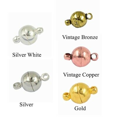 10 Set Round Ball Two Parts Magnetic Clasps DIY Necklace Bracelet Findings Craft