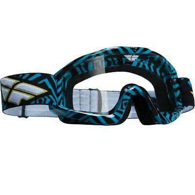Fly Racing Zone Blue Black Adult Clear Lens Motocross MX Dirt Bike Goggles