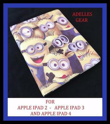 Kids Or Childrens Ipad 4 , 3 Or 2 Cover/case Minions Crowd Despicable Me  Yellow