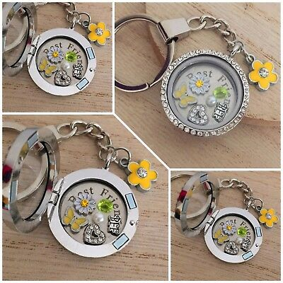Personalised memory locket Keyring Necklace - Xmas/Birthday Gift for Best Friend