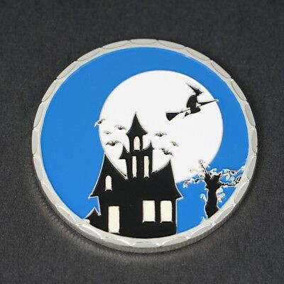 1Pcs Silver Halloween Commemorative Coin with Luminous 35g