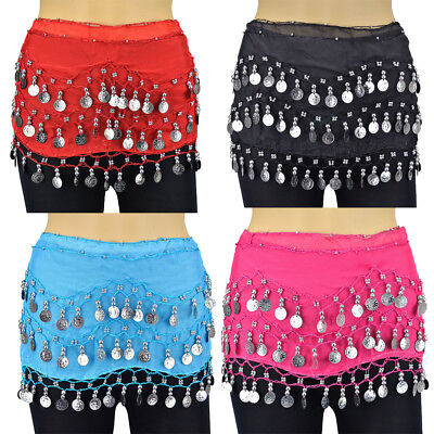New Belly Dance Hip With 3 Row Silver Coin Chain Skirt Scarf Wrap Belt Waistband