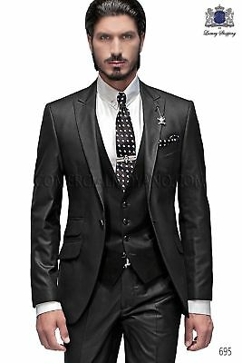 Black Best Man Groomsman Men's Wedding Prom 3 Pieces Suits Groom Tuxedos