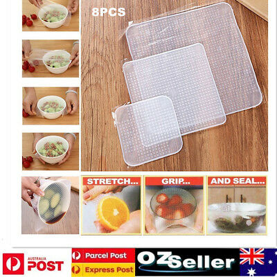 8x Food Fresh Keeping Silicone Stretch Lids Wraps Seal Vacuum Cover Lid Reusable