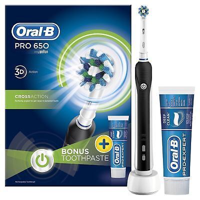 Oral-B PRO 650 Black CrossAction Electric Rechargeable Toothbrush Toothpaste Set