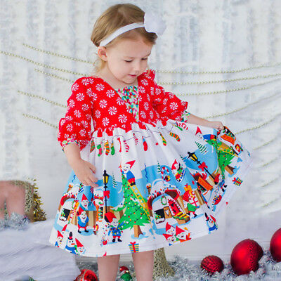 US Stock Newborn Baby Infant Girls Santa Snowman Christmas Cartoon Long Dresses