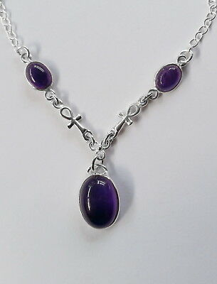 001 Amethyst Egyptian Ankh Necklace Solid 925 Sterling Silver rrp$89.95