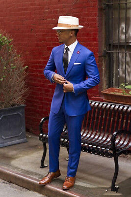 Custom Made Royal Blue Men Groom Wedding Suit Casual Slim Men Business Suits