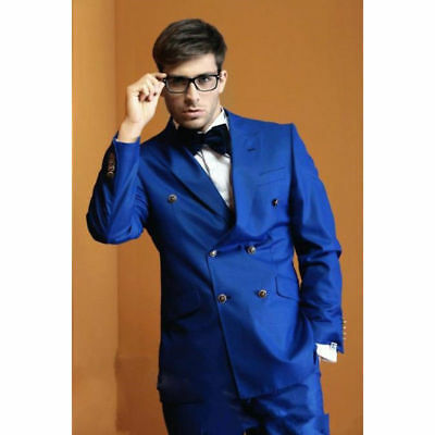 Royal Blue Double Breasted Groom Suits Men Suits Wedding Best Man Suits Tuxedos