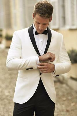 Slim Fit Ivory Tuxedos Wedding Suits For Men Groomsmen Wedding Prom Suit