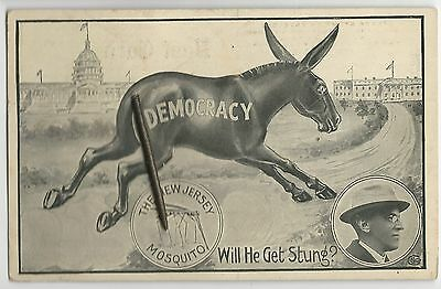 1912 Woodrow Wilson Democracy Donkey Charging White House Wire Tail Postcard