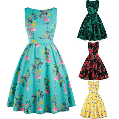 Women Vintage Retro 1950's Rockabilly Floral Evening Party Cocktail Swing Dress