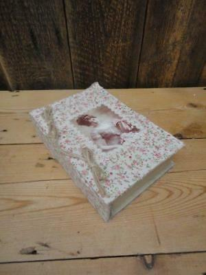 Wooden Trinket Jewellery Box Book Design Fabric Covering Picture Shabby Chic A7