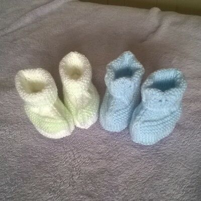 2 Pairs of handknitted woollen babies booties - Newborn - Blue & White/Mint
