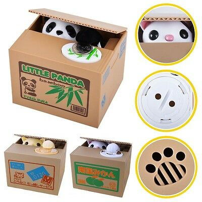 Panda piggy bank Stealing Penny Money Cents Coin Saving Pot Storage Kids Gift UK