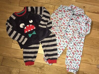 2 Pairs Of Boys Pyjamas Age 24-36 Months,  2-3 , Monster And Fire Engine Design
