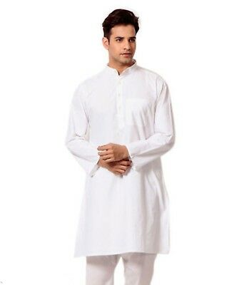 Indian 100% Cotton Men's Shirt Solid White Color Tunic Top Kurta S To 7XL Size