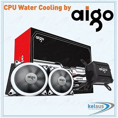 AIGO Intel / AMD CPU Liquid Water Cooling 240mm LED Radiator T240 Ring AM4 Ready