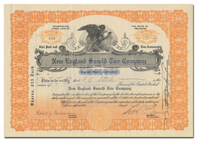 New England Savold Tire Company Stock Certificate (Curb / Amex Scam)