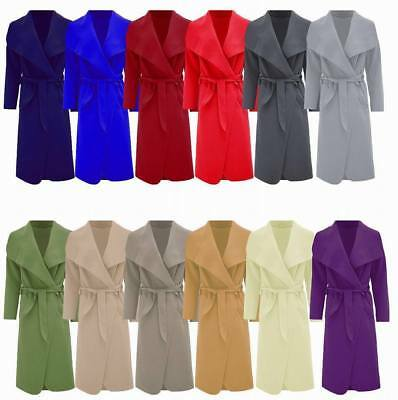 New Women's ladies Italian Long Belted Duster French Waterfall Trench Coat 8-16