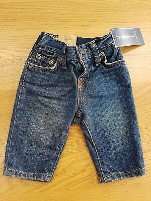 RALPH LAUREN Baby Boy or Girl Blue DENIM Jeans Trousers NWT Size 3 months skinny