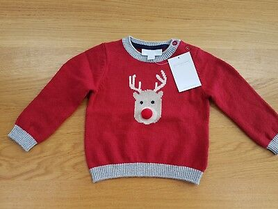WHITE COMPANY baby boy Reindeer Knit Wool jumper sweater 3 6 months girl Sale