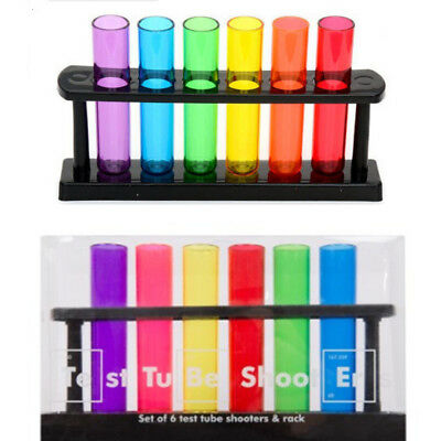 6 x TEST TUBE SHOOTERS LAB STYLE RACK PARTY DRINKING BAR SHOTS BOMB PUB DRINKS
